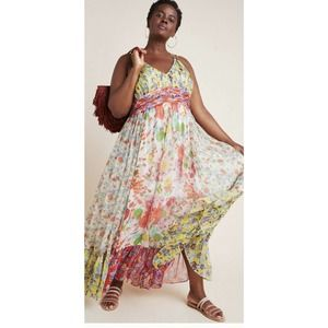 Anthropologie Malibu Floral Watercolor Maxi Dress
